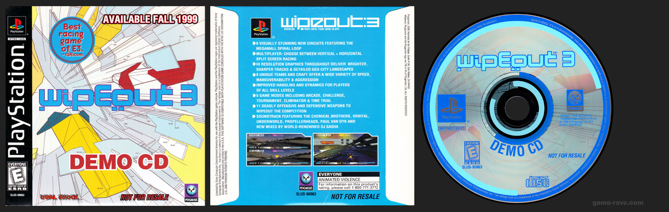 PSX PlayStation Wipeout 3 Demo CD