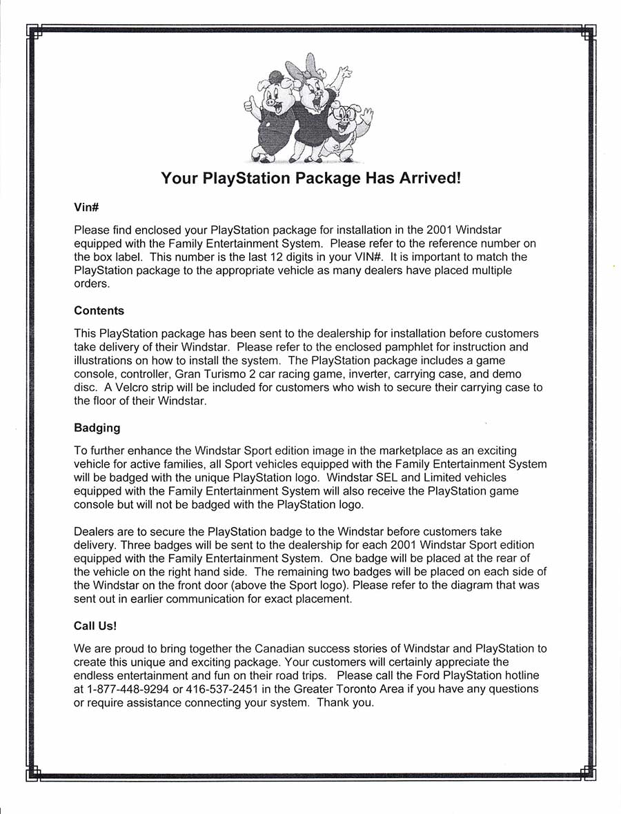PSX PlayStation Ford Demo Letter