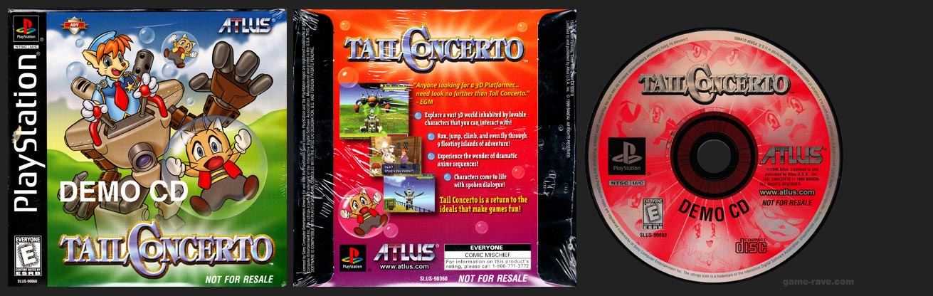 PSX PlayStation Tail Concerto Demo CD