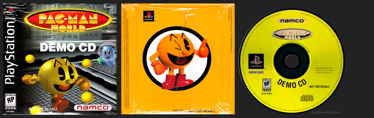 PSX PlayStation Pac-Man World Demo CD Shiny Release
