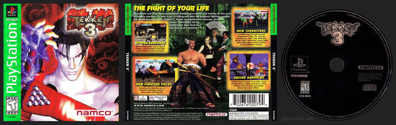 PlayStation Tekken 3 Greatest Hits Original ESRB