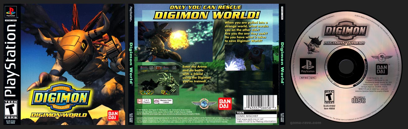 PSX PlayStation Digimon World Black Label Retail Release Plain Version