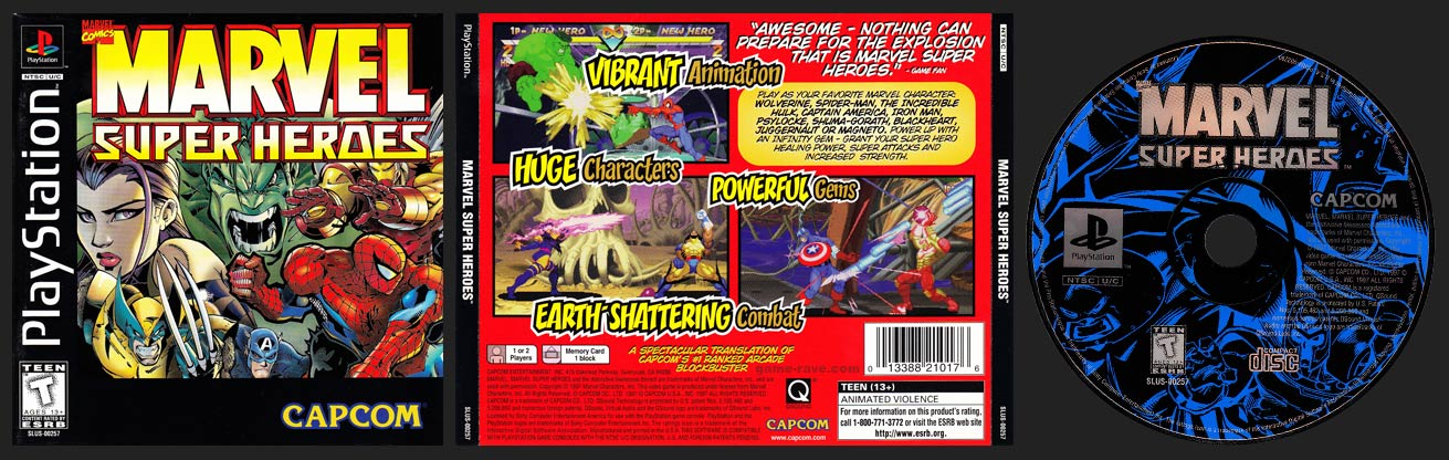 PSX PlayStation Marvel Super Heroes