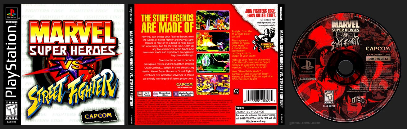 PSX PlaySTation Marvel Super Heroes Vs Street Fighter