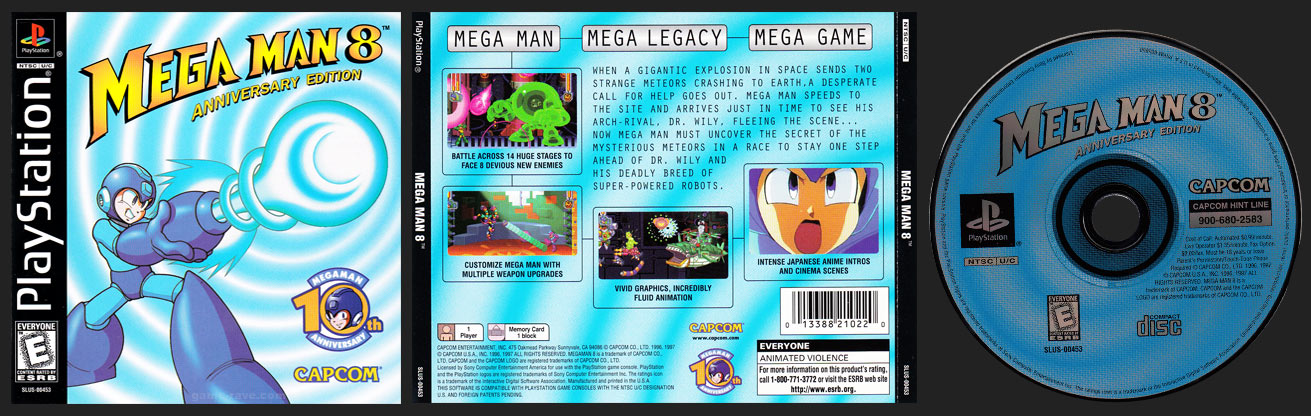 PSX PlayStation Mega Man 8 Blue Hub Plain Version