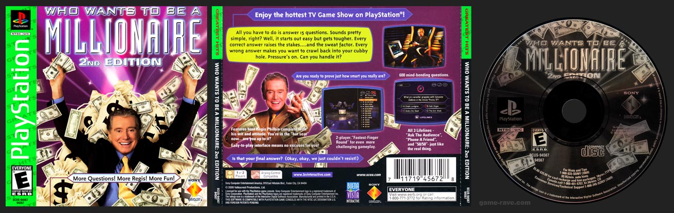 PSX PlayStation Who Wants to Be a Millionaire Greatest Hits Release