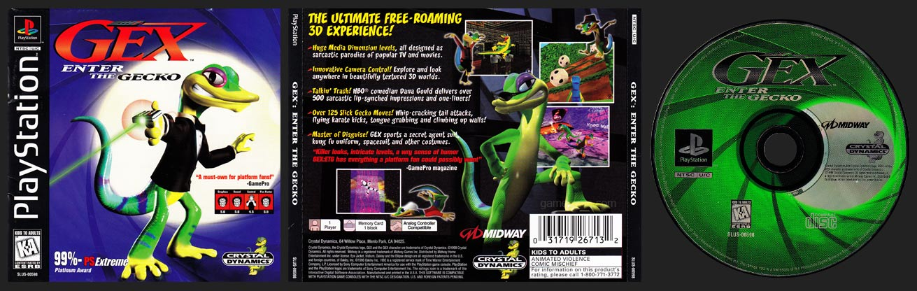 PSX PlayStation Gex: Enter the Gecko