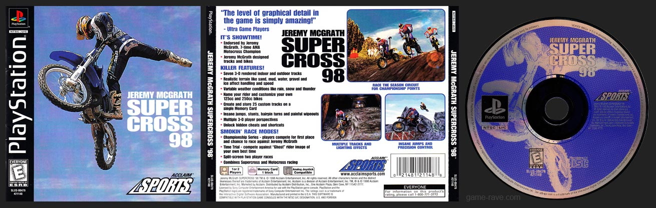 PSX PlayStation Jeremy McGrath Supercross 98