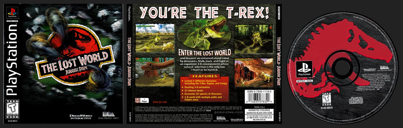 PSX PlayStation The Lost World: Jurassic Park Black Label Retail Release
