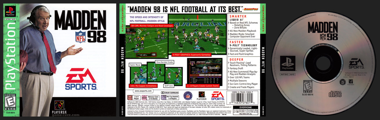 PSX PlayStation Madden NFL 98