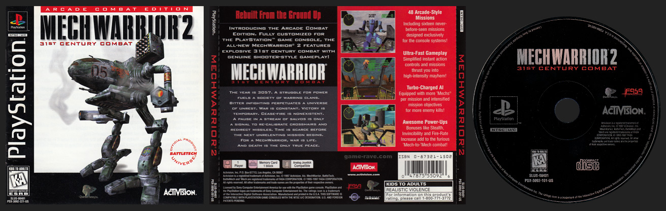 PSX PlayStation MechWarrior 2