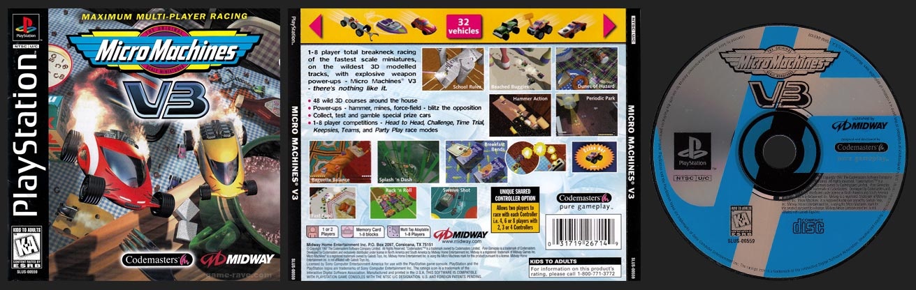 PSX PlayStation Micro Machines V3 Black Label Retail Release