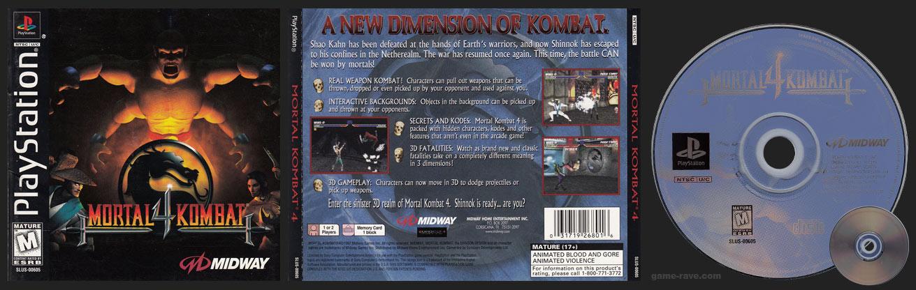 PSX PlayStation MOrtal Kombat 4 Misprint