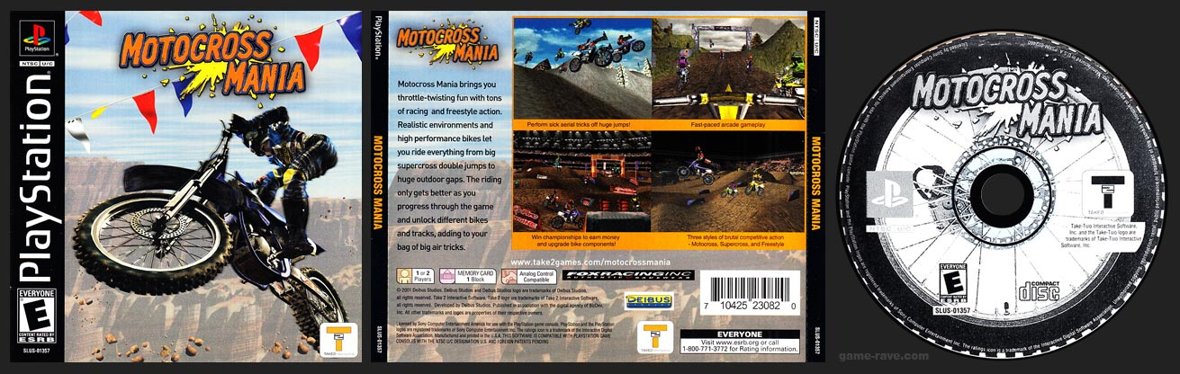PSX PlayStation Motocross Mania 1 Ring Black Hub Black Label Retail Release