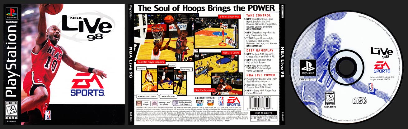 PSX PlayStation NBA Live 98 Black Label Retail Release