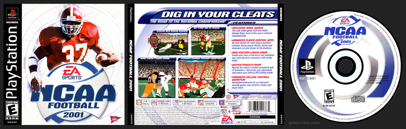 PSX PlayStation NCAA Football 2001 Retail Release