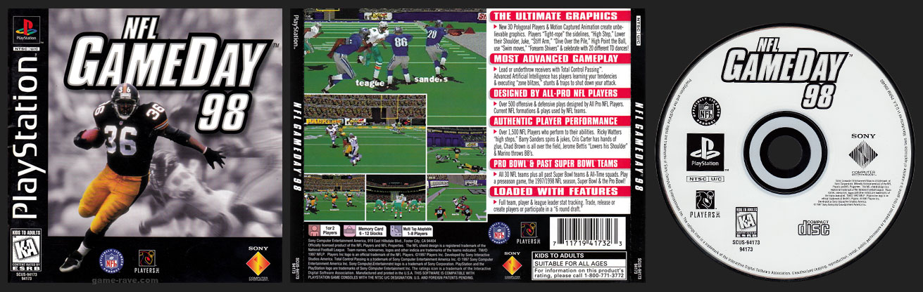 PSX PlayStation NFL Game Day 98 Black Label Retail Release