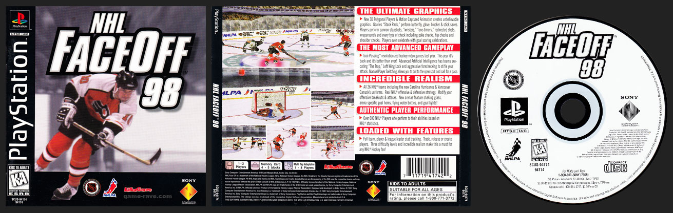 PSX PlayStation NHL Face Off 98 Black Label Retail Release