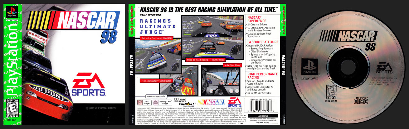 PSX PlayStation NASCAR 98 Greatest Hits