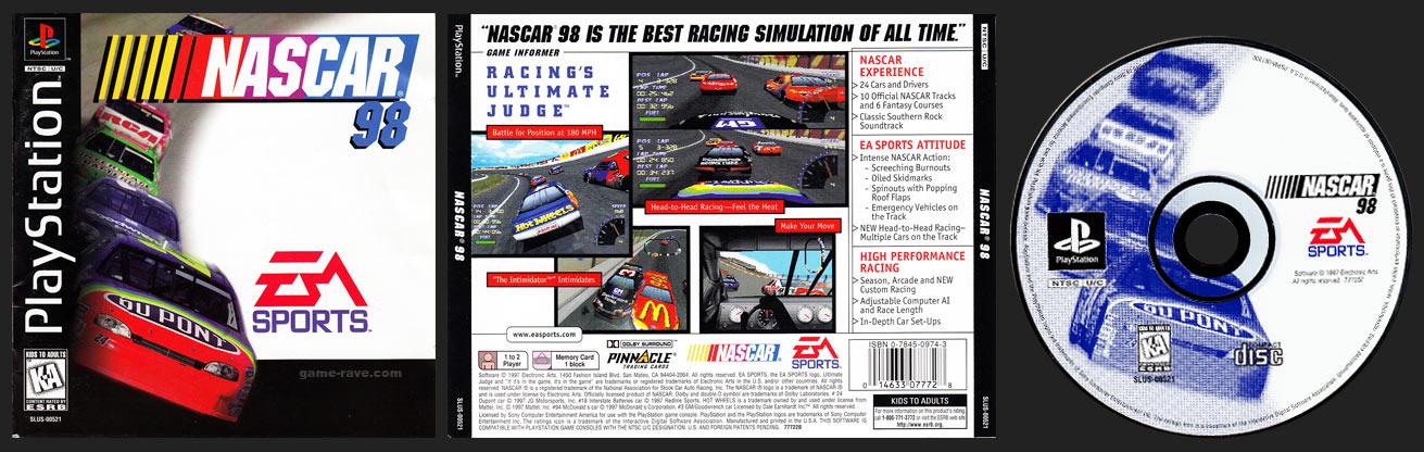 PSX PlayStation NASCAR 98 Black Label Retail Release