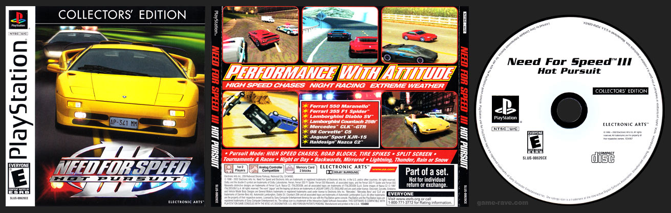 PSX PlayStation Need for Speed III: Hot Pursuit Collector Editions White Label Release