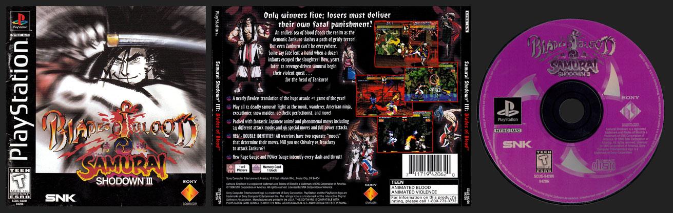 PSX PlayStation Samurai Shodown III: Blades of Blood