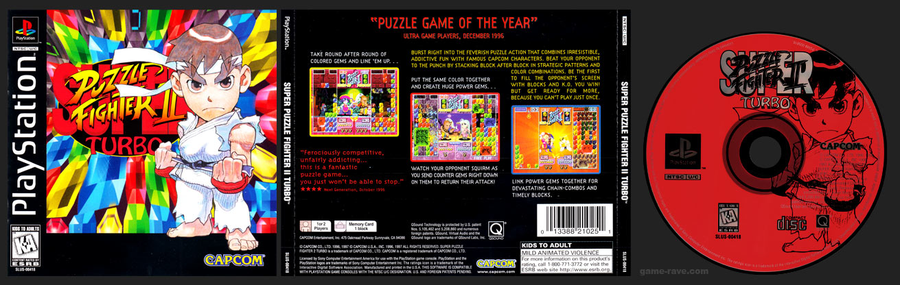 PSX PlayStation Super Puzzle Fighter II Turbo Black Label Retail Release