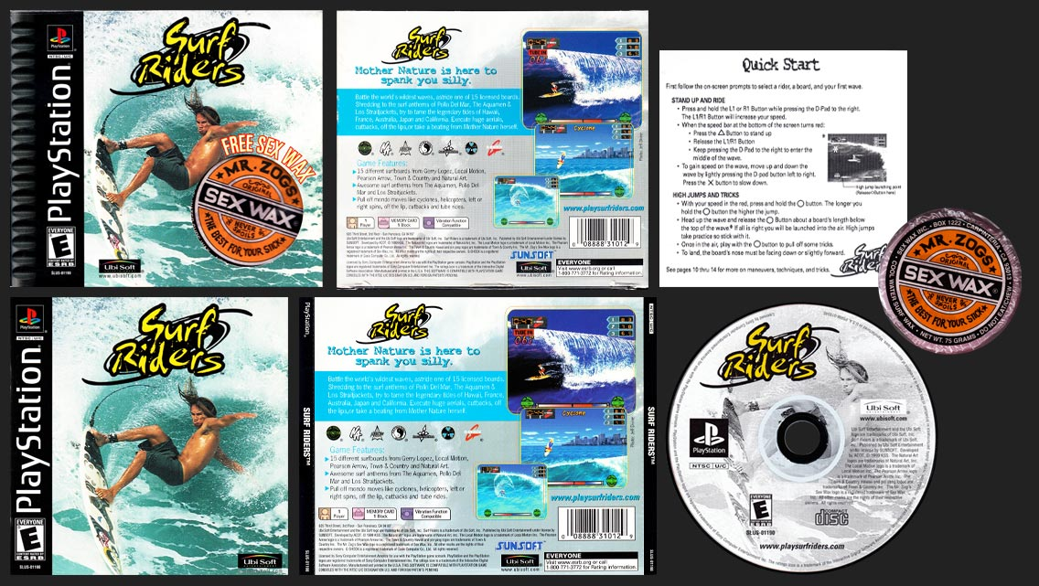 PSX PLayStation Surf Riders Sex Wax Edition