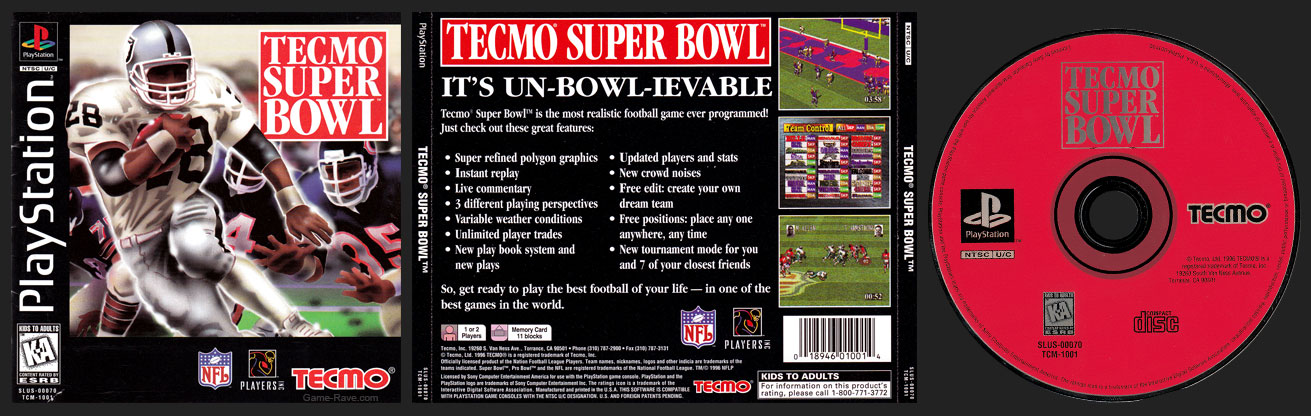 PSX PlayStation Tecmo Super Bowl
