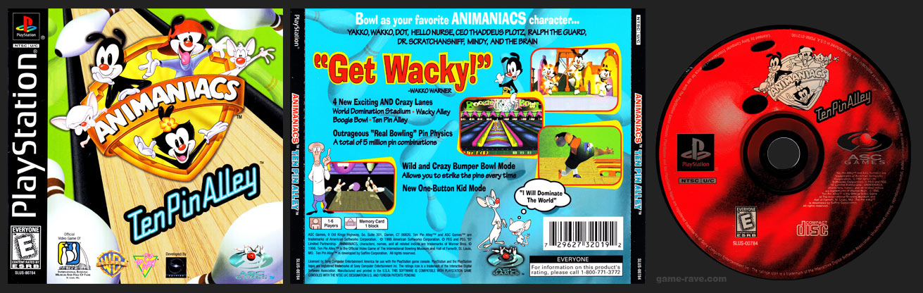 PSX PlayStation Animaniacs Ten Pin Alley