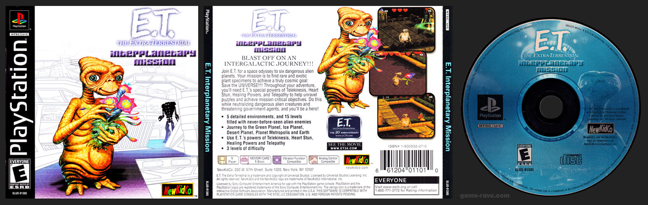 PSX PlayStation E.T. The Extra-Terrestrial Interplanetary Mission
