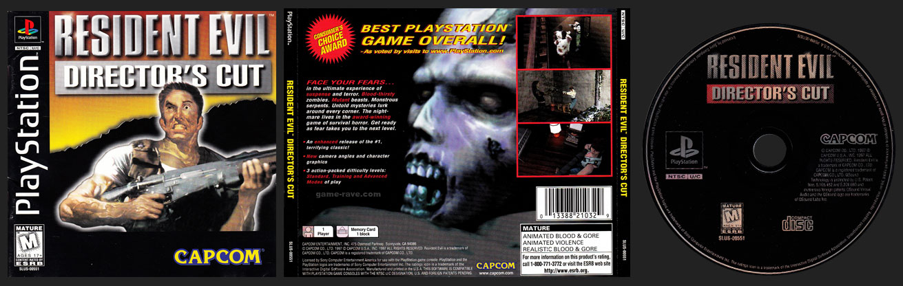 PSX PlayStation Resident Evil: Director's Cut Single Jewel Case Release