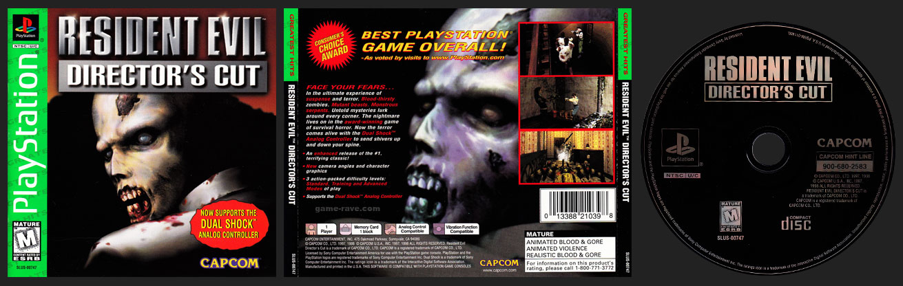 PSX PlayStation Resident Evil: Director's Cut Greatest Hits