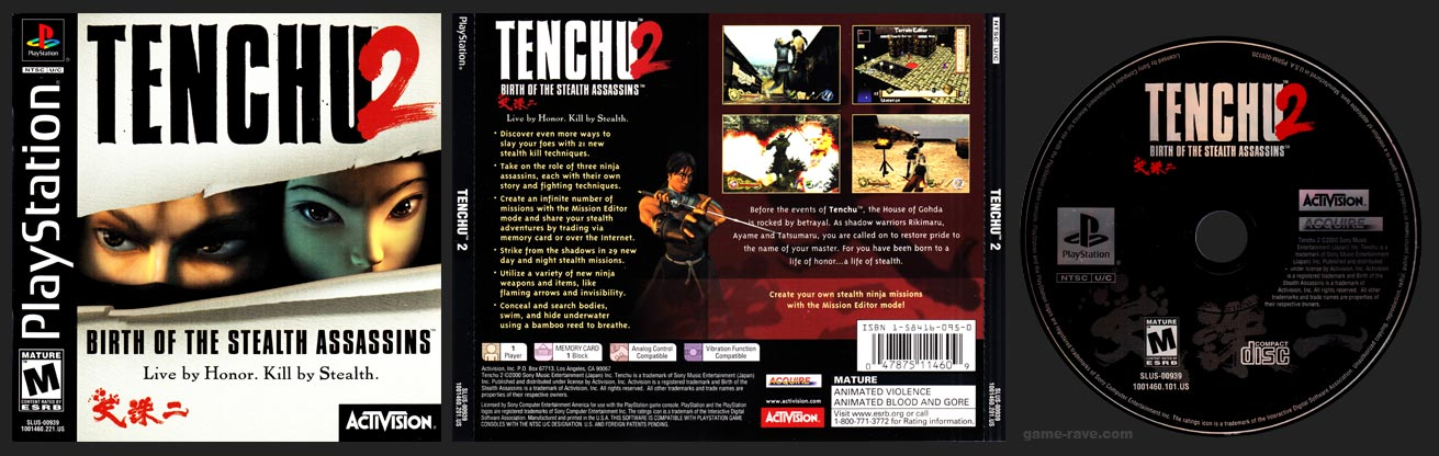 PSX PlayStation Tenchu 2 Birth of the Stealth Assassins Black Label Retail Release