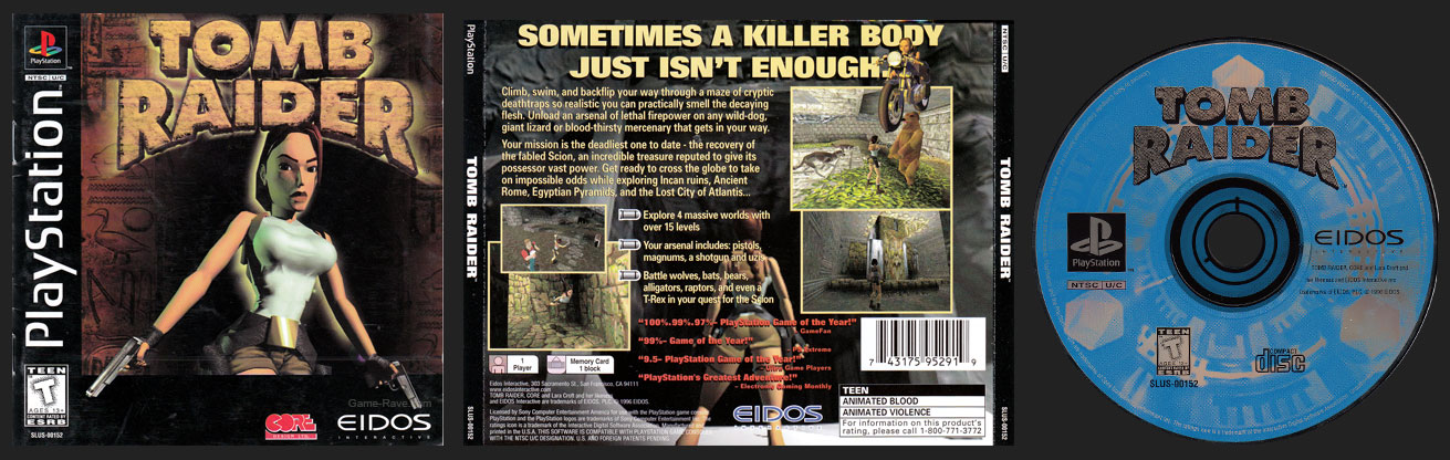 PSX PlayStation Tomb Raider Boots to Core Logo Original Black Label Retail Release