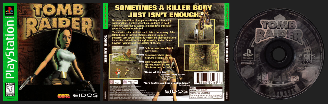 PSX PlayStation Tomb Raider with and Tomb Raider II and Ninja Demo