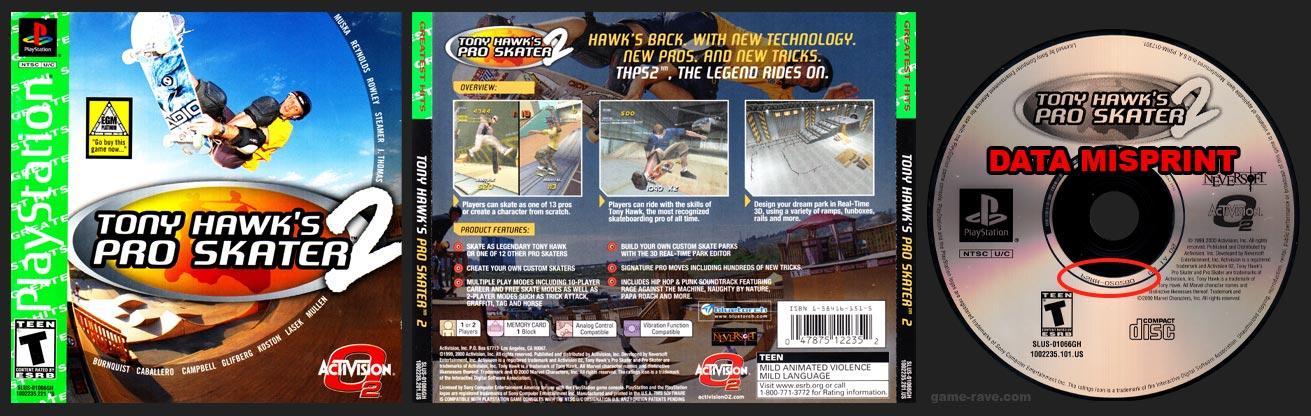 PSX PlayStation Tony Hawk's Pro Skater 2 Action Bass Misprint