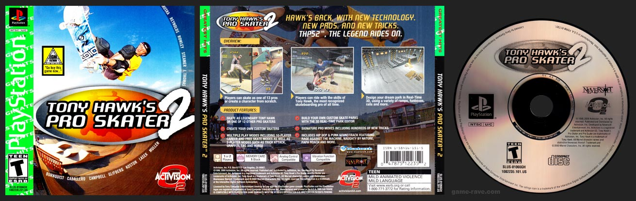 PSX PlayStation Tony Hawk's Pro Skater 2 Greatest Hits Release