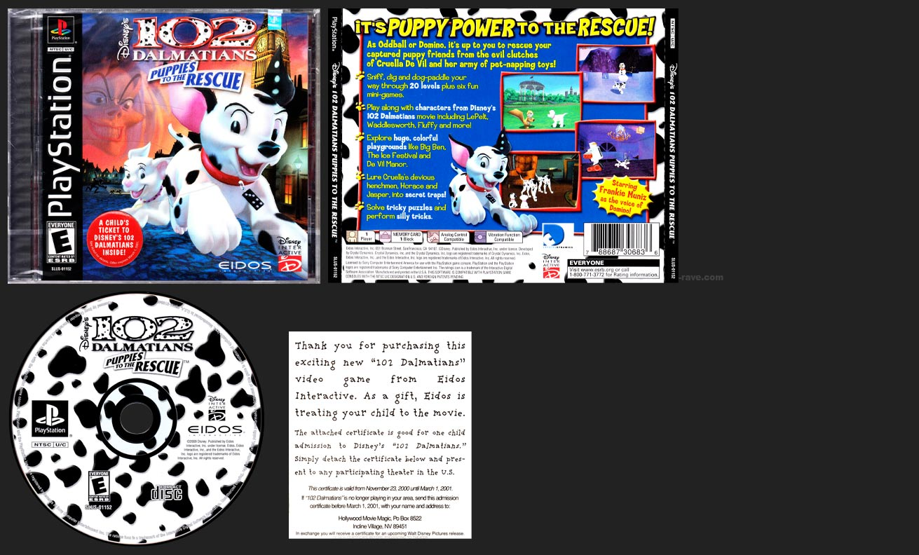 PSX PlayStation 102 Dalmatians Puppies to the Rescue Black Label Retail Release