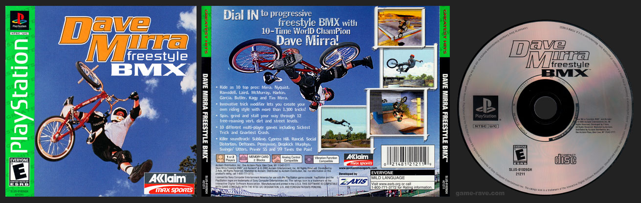 PSX PlayStation Dave Mirra Freestyle BMX Greatest Hits