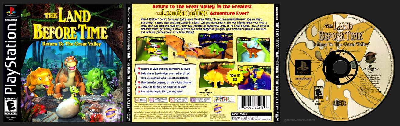 PSX PlayStation The Land Before Time: Return To The Great Valley brings the lovable dinosaurs to vivid 3-D Levels with 3 levels of Difficulty