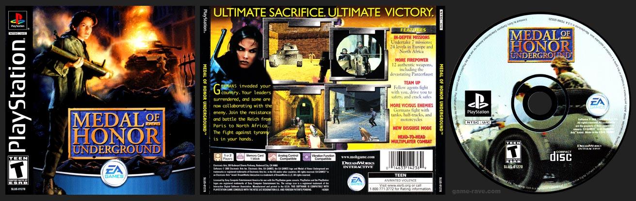 PSX PlayStation Medal of Honor Underground Black Label