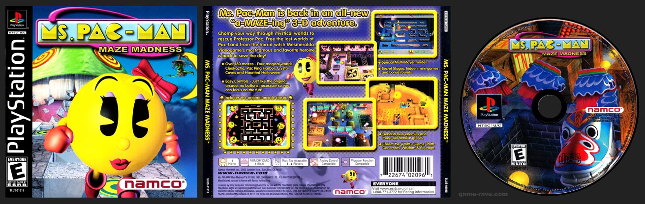 PSX PlayStation Ms. Pac-Man Maze Madness