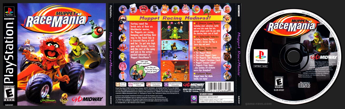 PSX PlayStation Muppet Race Mania