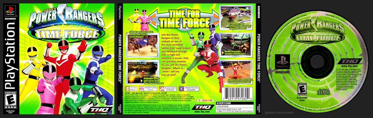 PSX PlayStation Power Rangers Time Force