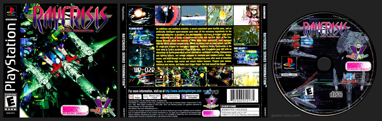 PSX PlayStation RayCrisis: Series Termination Black Label Retail Release Variant A