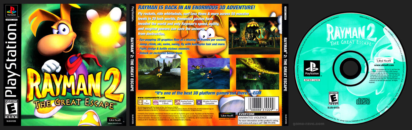 PSX PlayStation Rayman 2: The Great Escape