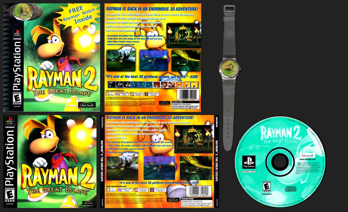 PSX PlayStation Rayman 2 The Great Escape Wrist Watch Edition