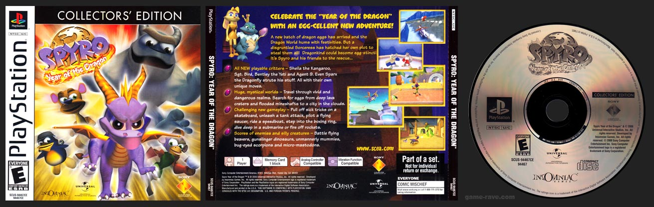PSX PlayStation Spyro: Year of the Dragon Collector's Edition
