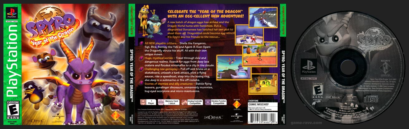 PSX PlayStation Spyro: Year of the Dragon Greatest Hits Release